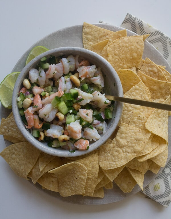 Spicy Shrimp Ceviche w/ Cucumbers and Burnt Peanuts // www.acozykitchen.com
