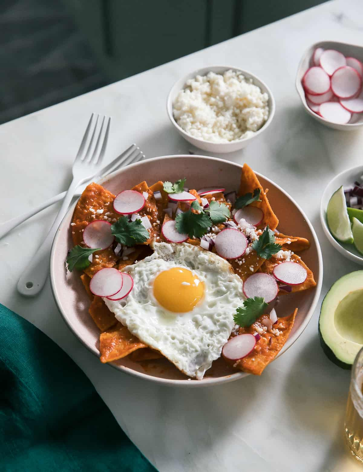 Round plate of Chilaquiles surrounded radishes, limes and avocado
