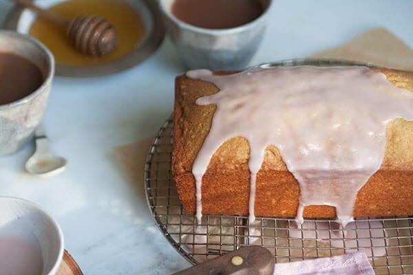 Vanilla Bean Pound Cake with Pomegranate Glaze | www.acozykitchen.com
