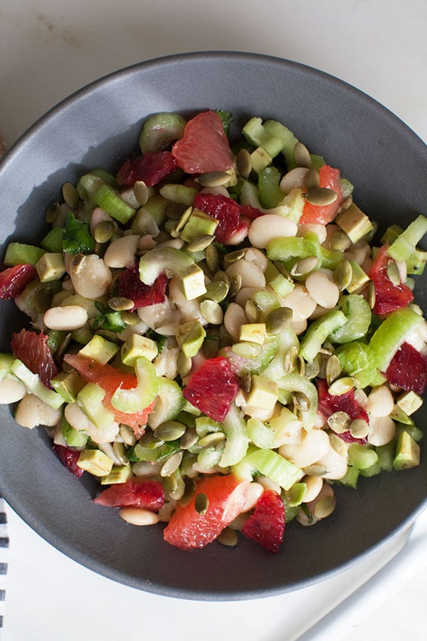 Celery Butter Bean and Pepita Salad w/ Winter Citrus | www.acozykitchen.com