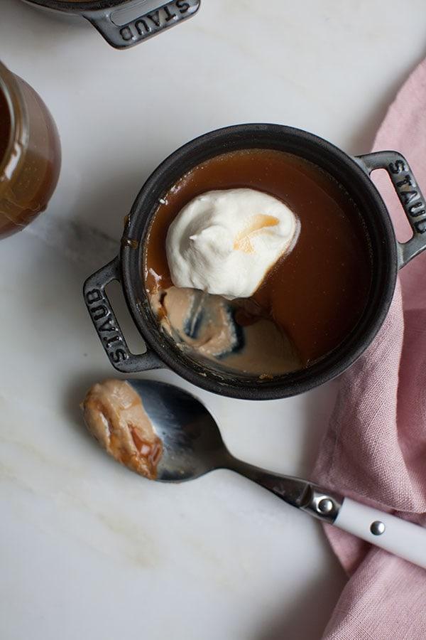Butterscotch Pot de Creme with Buttermilk Caramel – A Cozy Kitchen