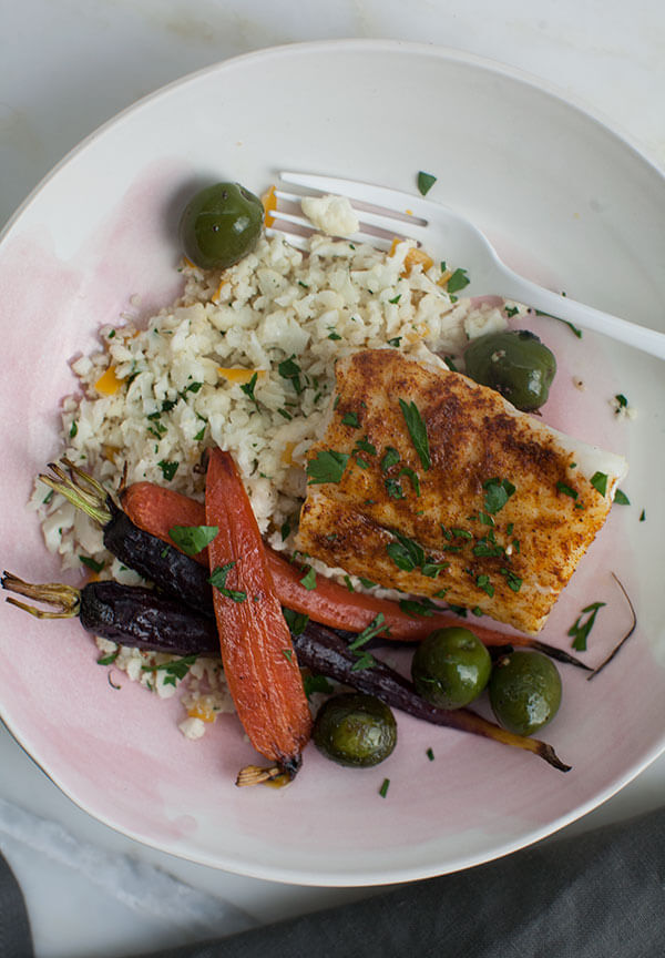 Moroccan-Spiced Cod with Cauliflower Cous Cous and Carrots