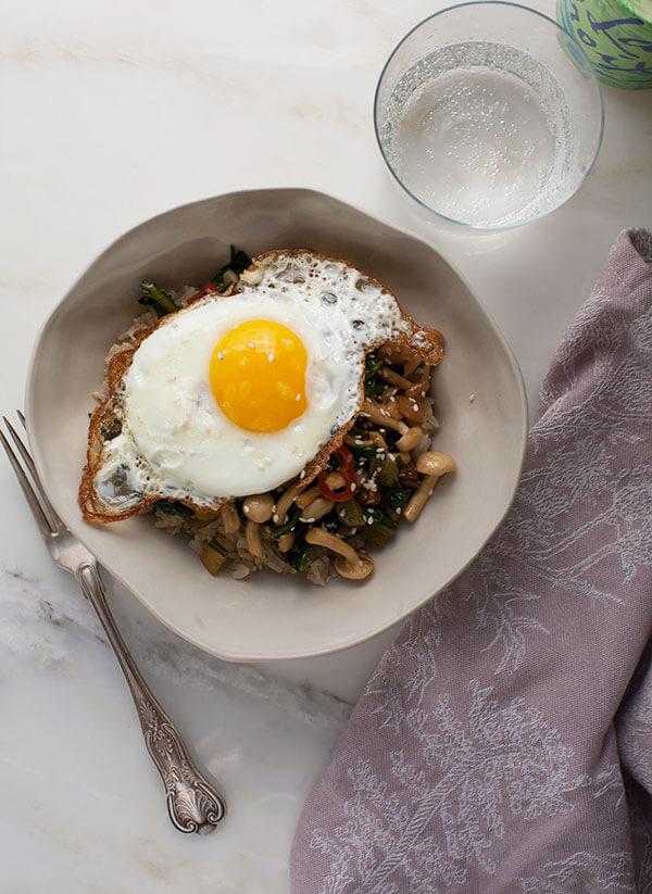 Healthy Dinner For One: Enoki + Chard Mushroom Stir-Fry | www.acozykitchen.com