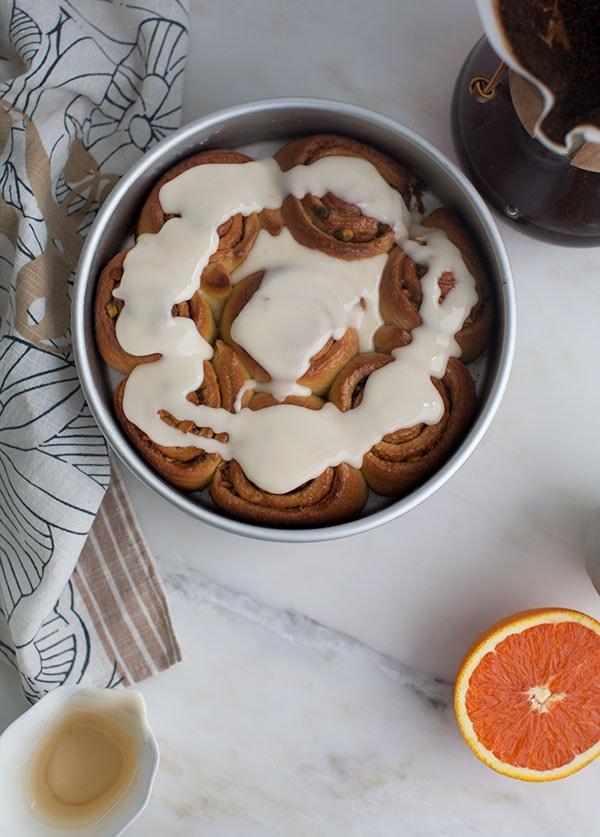 Orange Cardamom Sweet Rolls with Pistachios