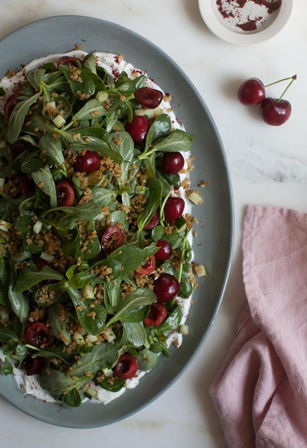 Cherry Purslane Salad with Lebneh and Crispy Freekeh