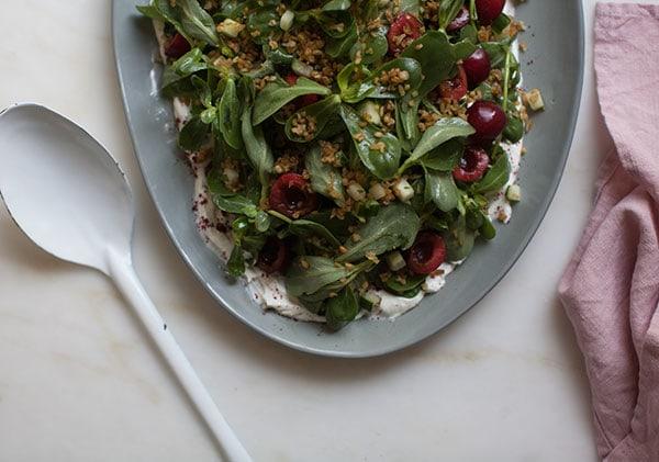 Cherry Purslane Salad with Lebneh and Crispy Frekkeh