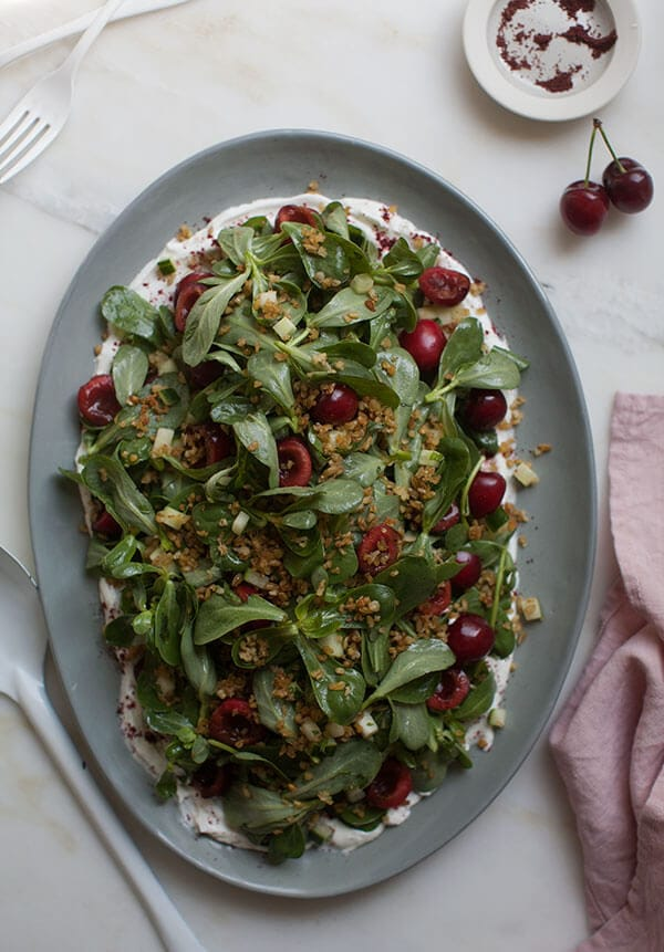 Cherry Purslane Salad with Lebneh and Crispy Freekeh