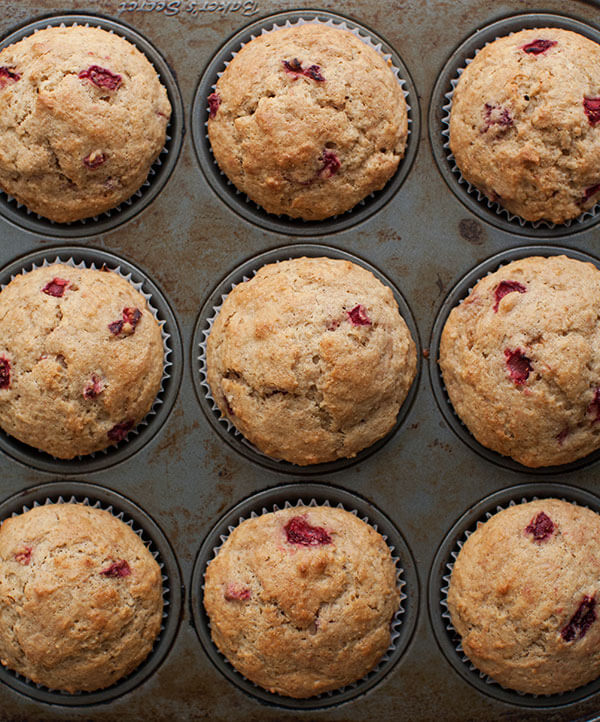 Spelt Strawberry Muffins w/ Rhubarb Butter