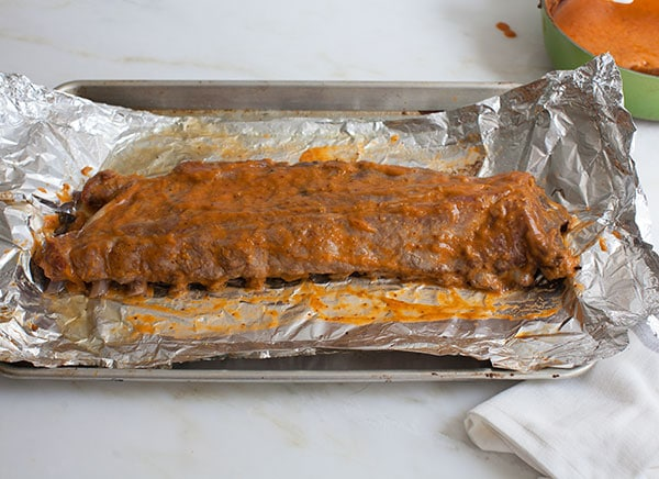 Oven Ribs with Peach Bourbon BBQ Sauce