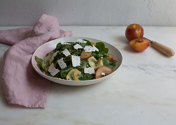 Plum Watercress Salad with Ricotta Salata