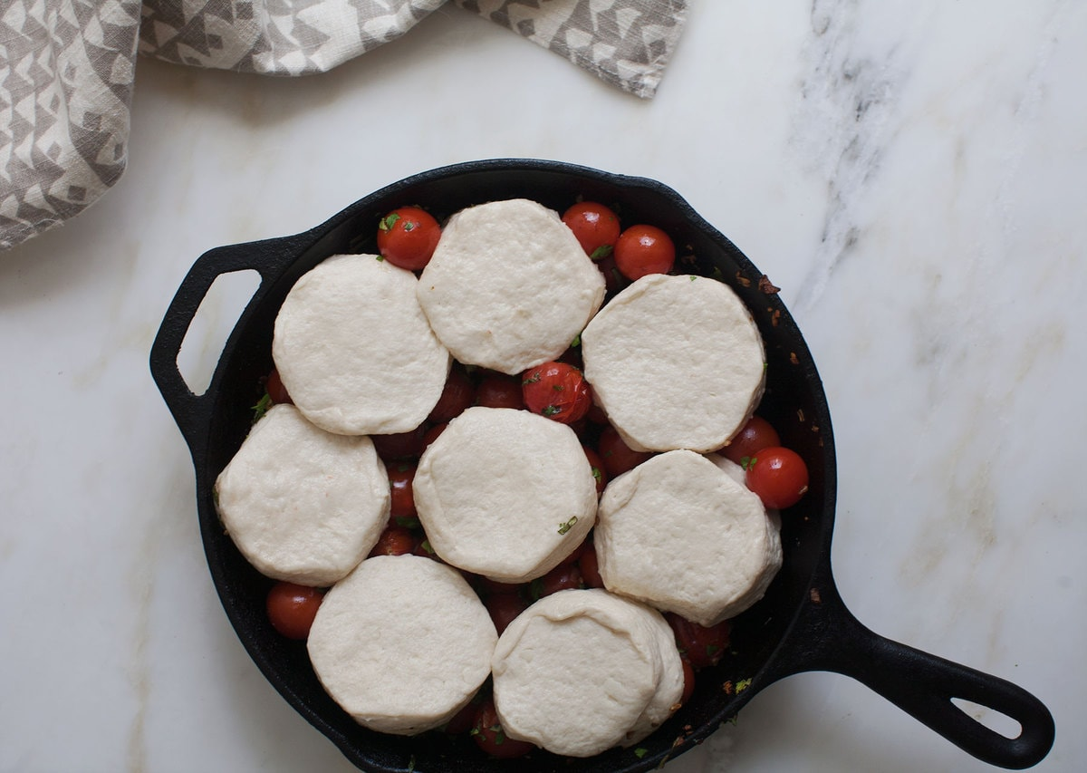 Tomato Basil Biscuit Cobbler