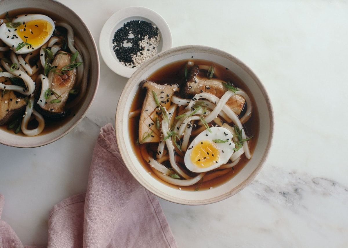 Cold Udon Noodles in a Soy Broth with King Mushrooms