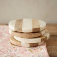 Marble + Wood Coasters
