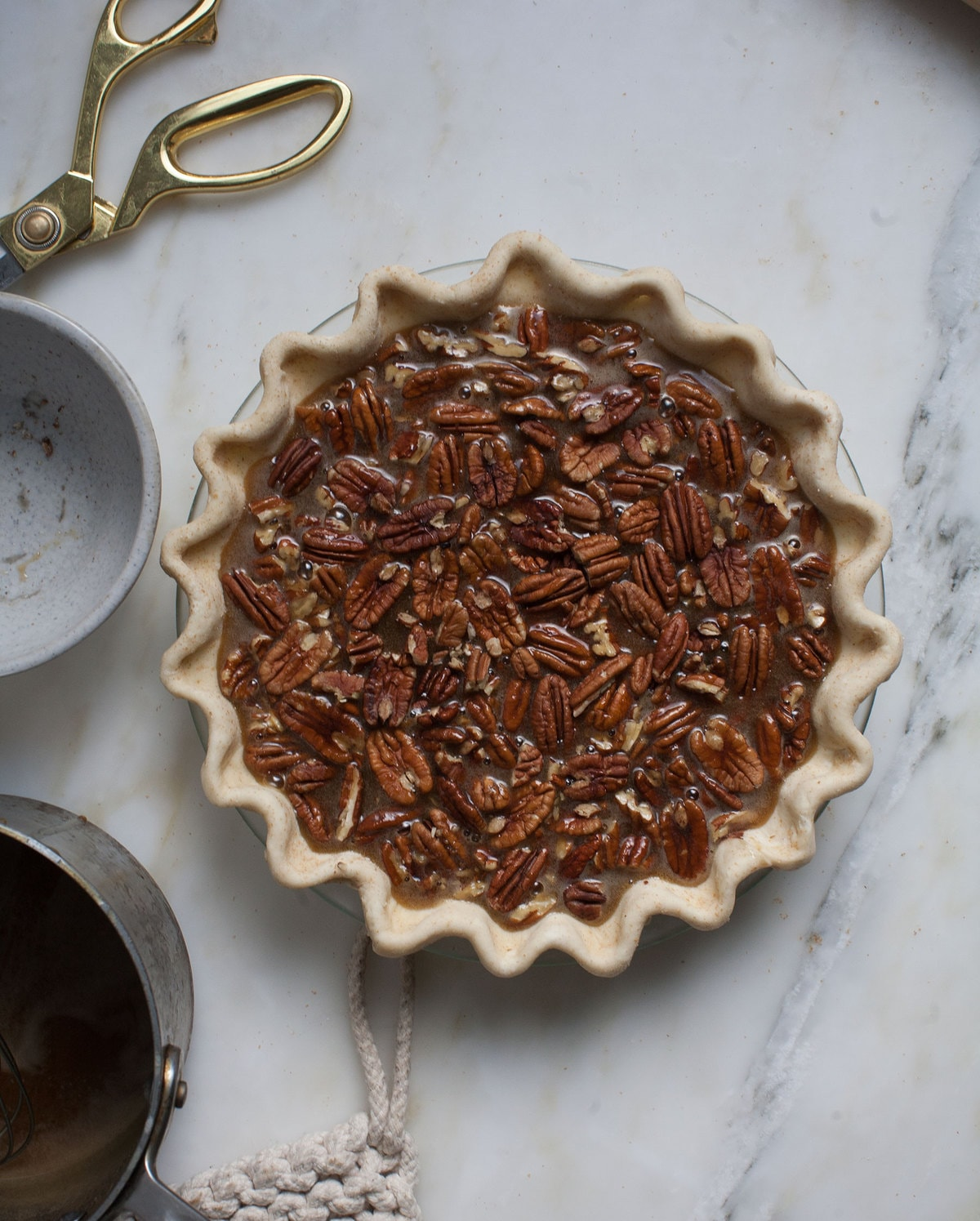 Black-Bottomed Pecan Pie (with no corn syrup!)