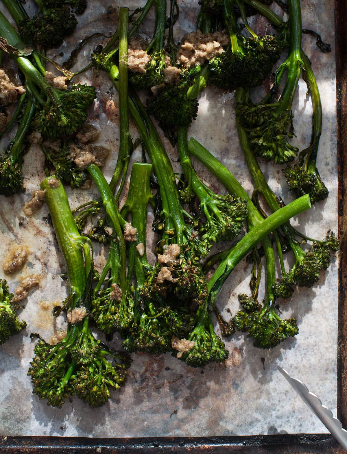 Roasted Broccoli Bagna Cauda with Crispy Shallots