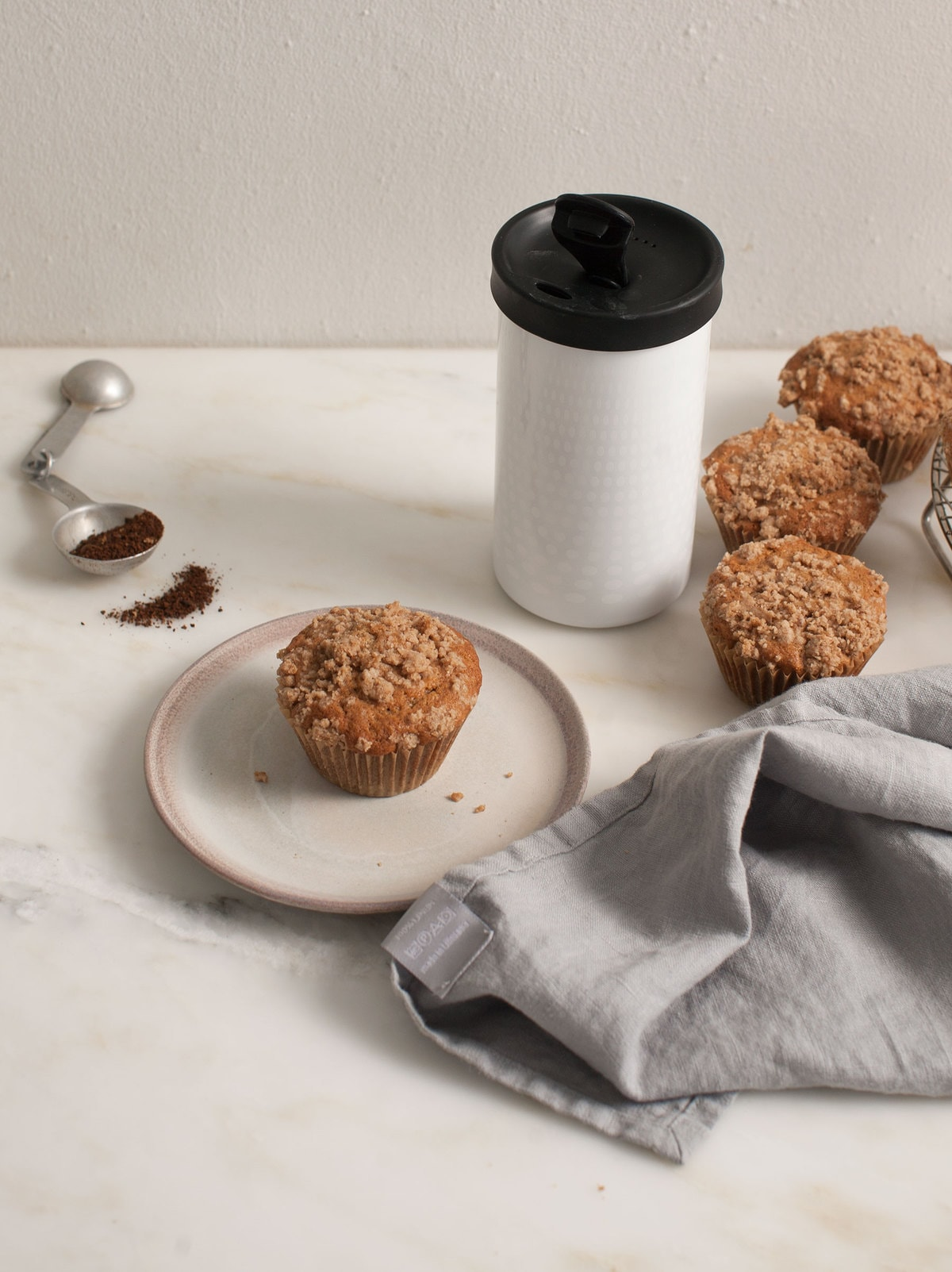 Coffee-Pear Coffee Cake Muffins with Pear