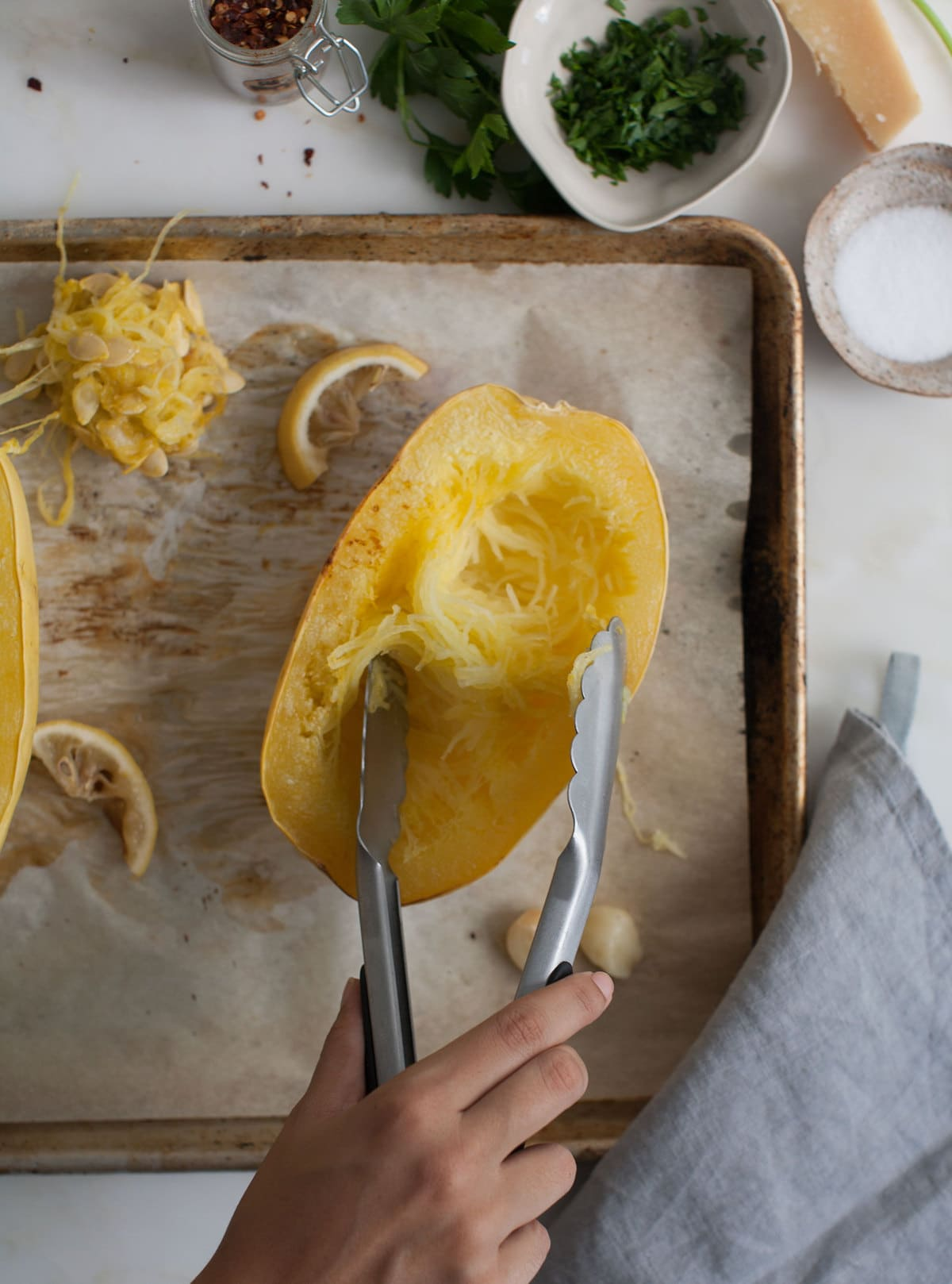 Dinner for One (Or Two); Lemon-y Cheesy Spaghetti Squash