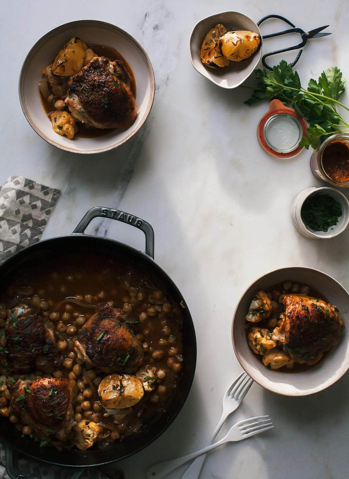 Homemade Harissa + Roasted Harissa Chicken with Chickpeas & Cauliflower