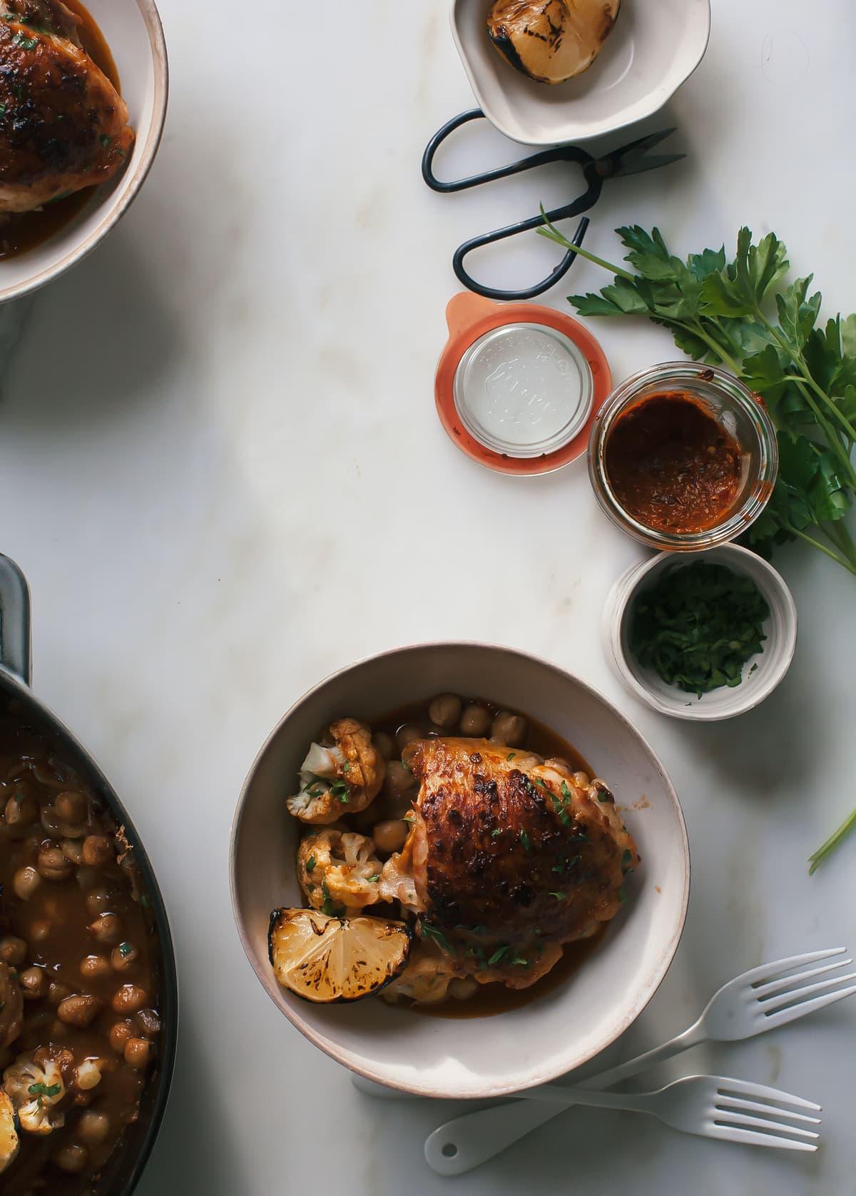 Homemade Harissa + Roasted Harissa Chicken with Chickpeas & Cauliflower