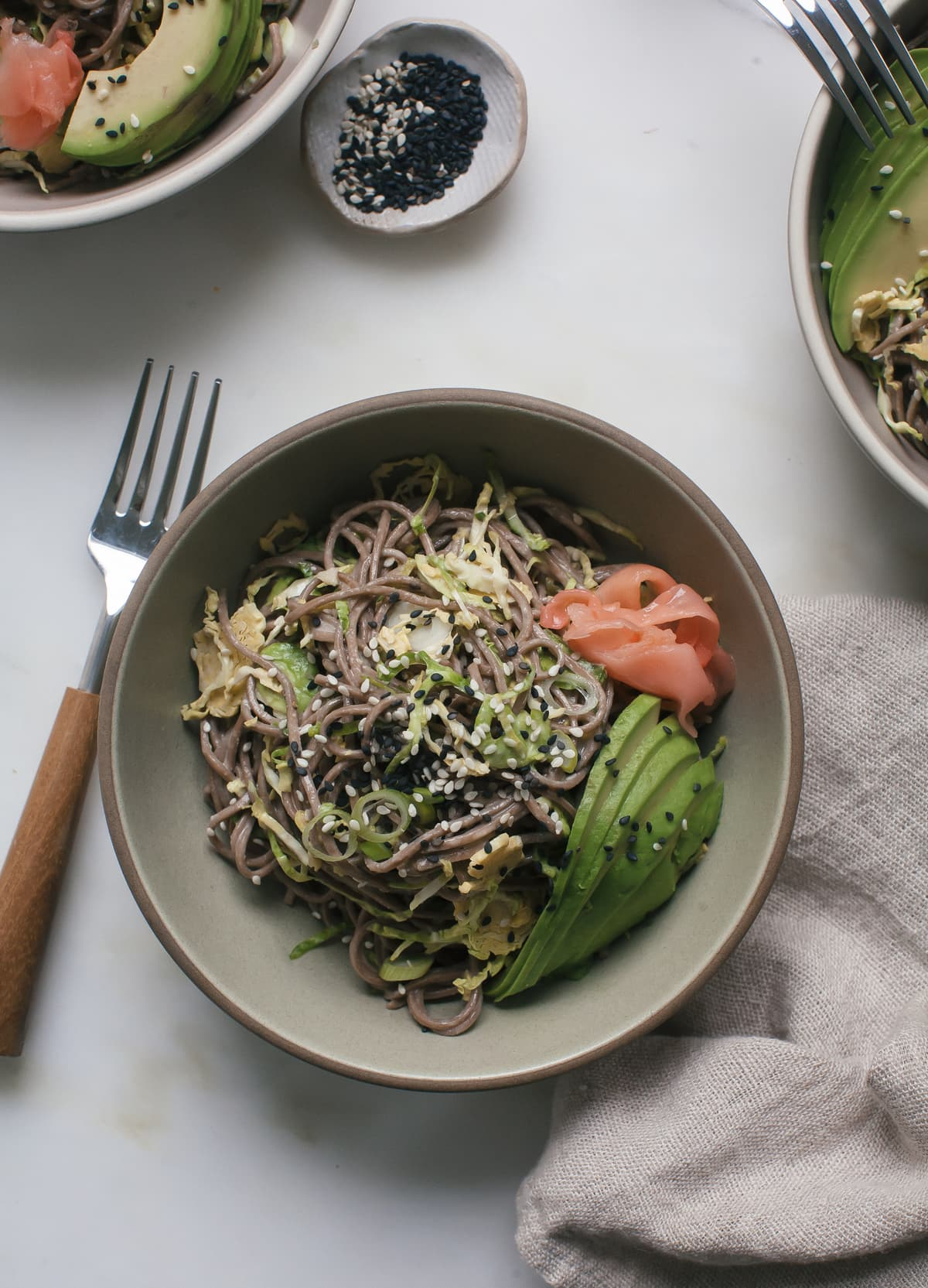 Brussels Sprouts Soba Noodle Salad with Miso-Tahini Dressing