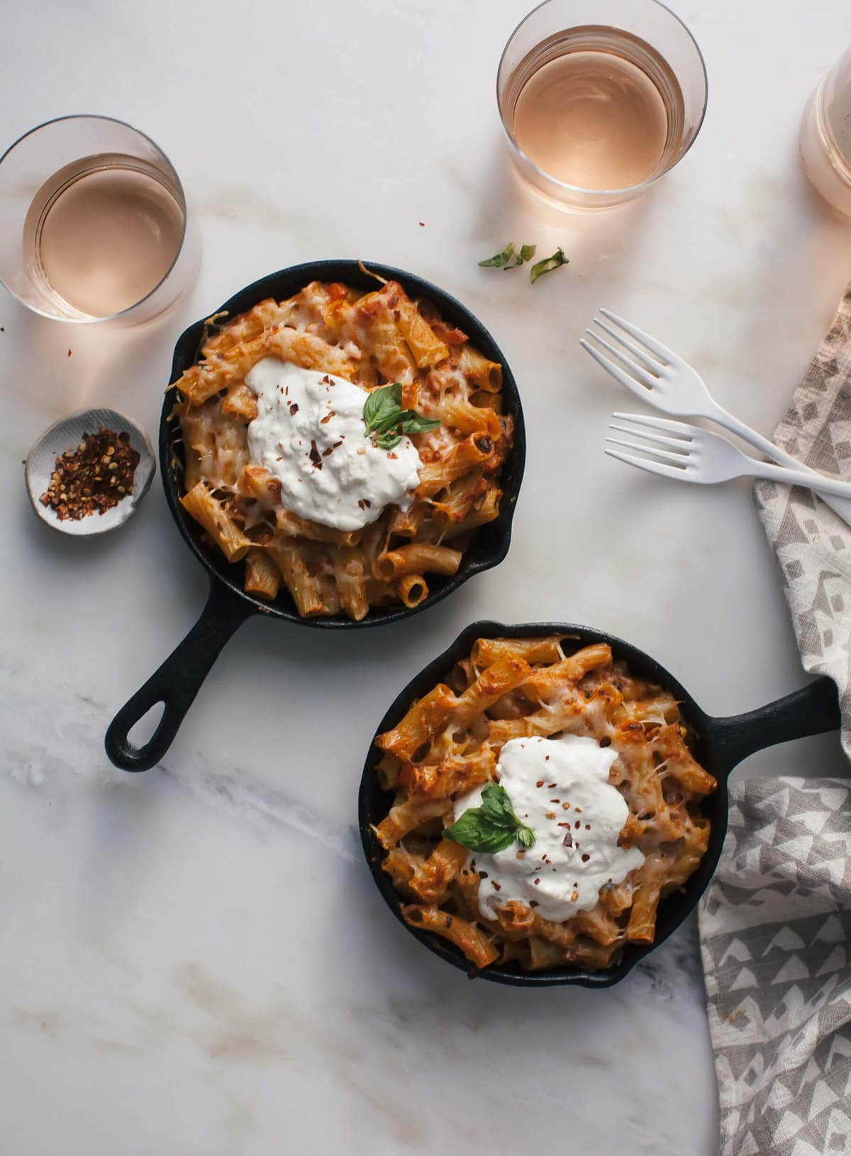 Veggie Baked Ziti (For Two) with Burrata