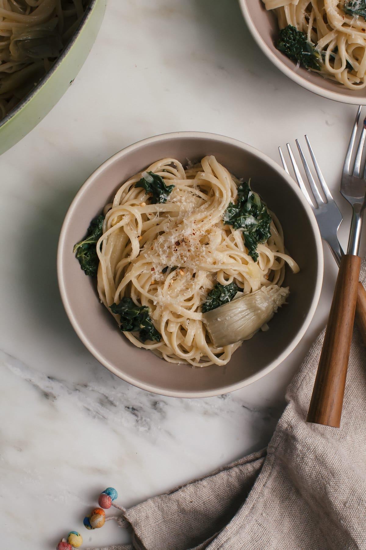 Lemon-y, Artichoke-y, Kale-y One Pot Pasta
