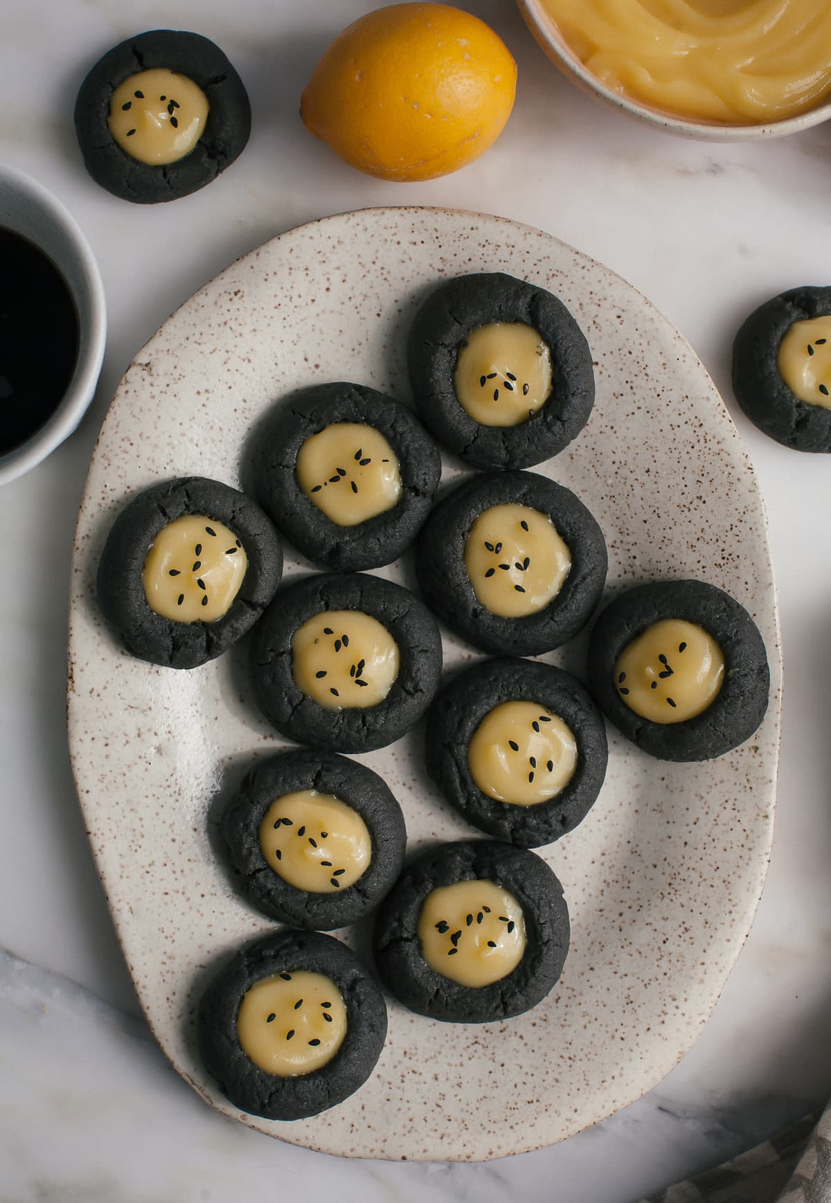 Black Sesame Thumbprint Cookies with Meyer Lemon Curd