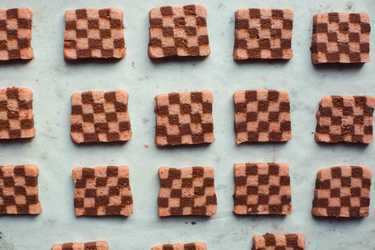 Strawberry Chocolate Checkered Cookies