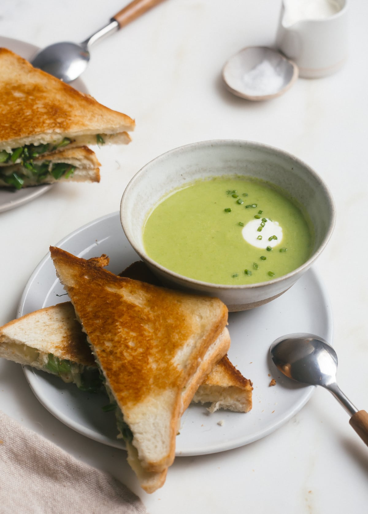 Asparagus Soup with Veggie Grilled Cheese