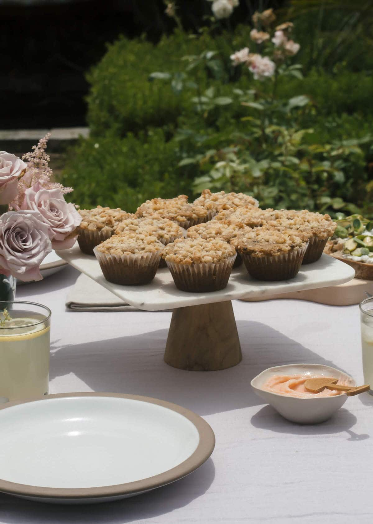 Rye Chocolate Streusel Muffins with Strawberry Pink Peppercorn Butter