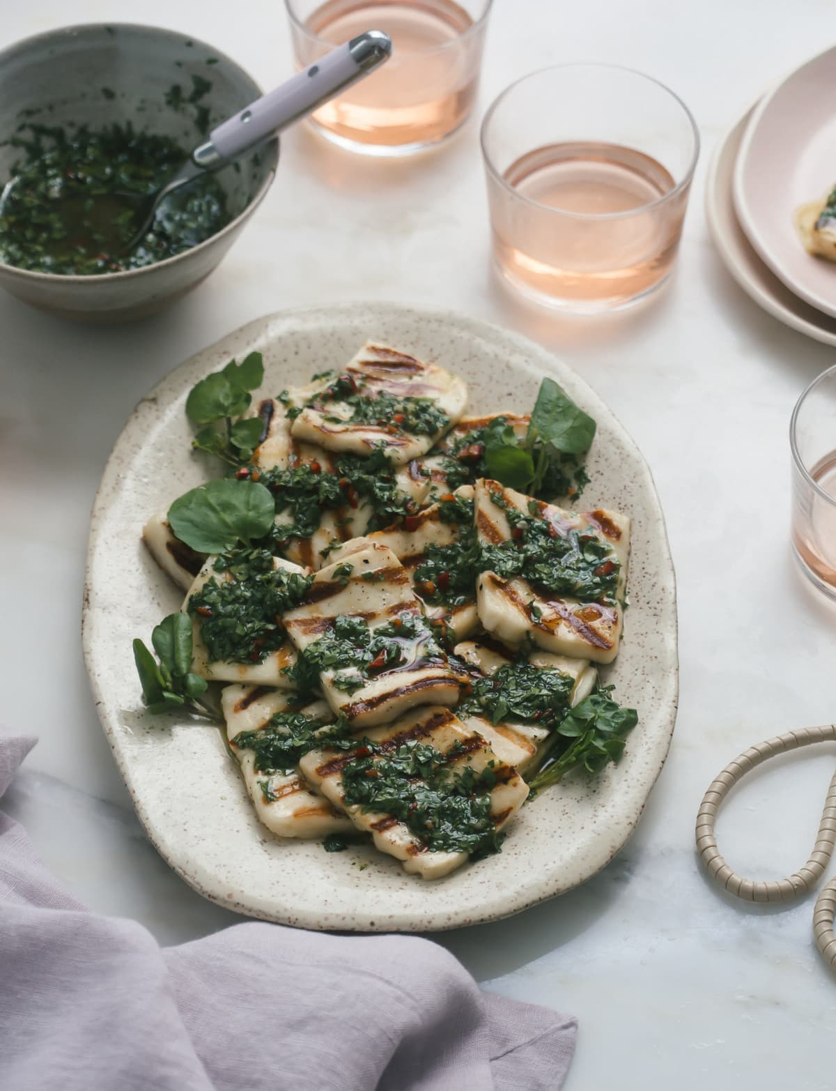 Grilled Halloumi with Watercress Chimichurri