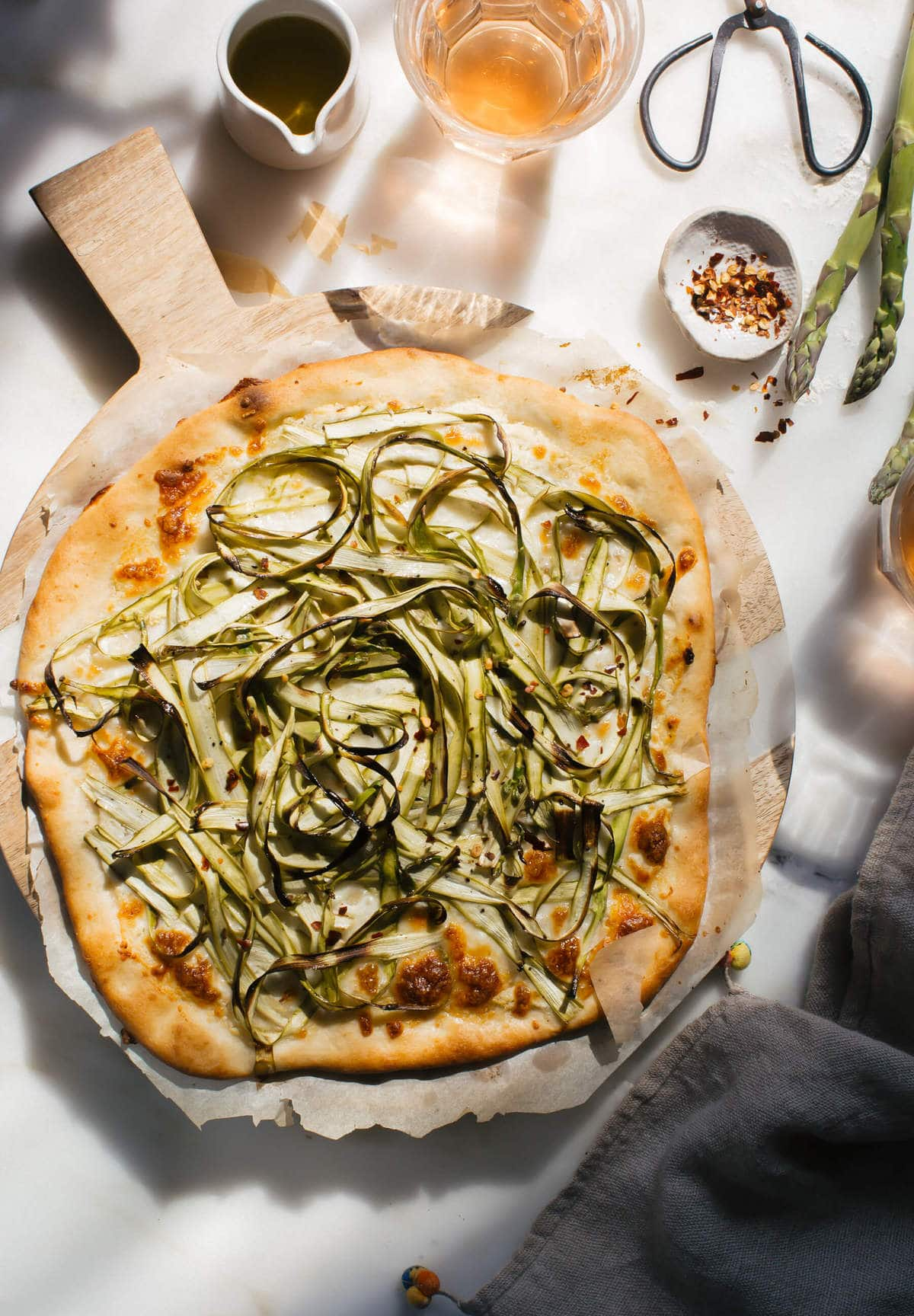 Three-Cheese Shaved Asparagus Pizza