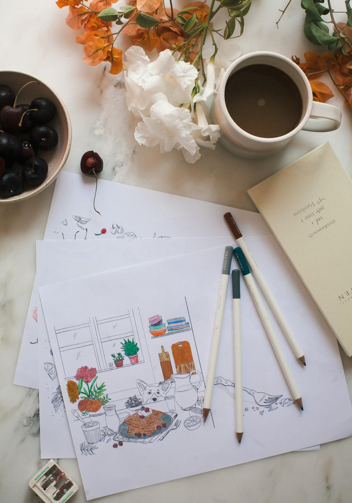 A Cozy Coloring Cookbook Cover