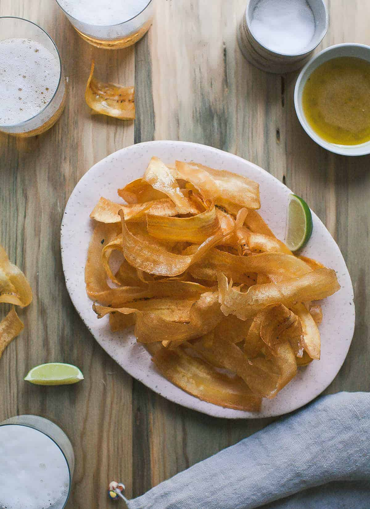 Plantain Chips with Mojo Sauce