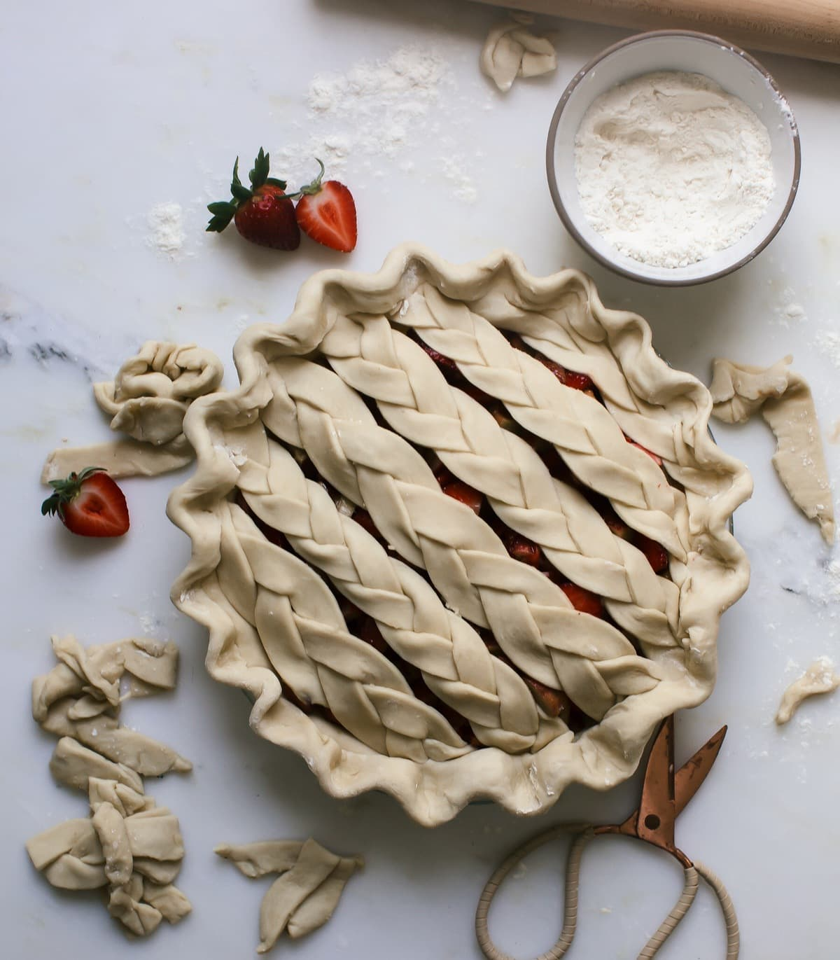 Strawberry Rhubarb Braided Pie