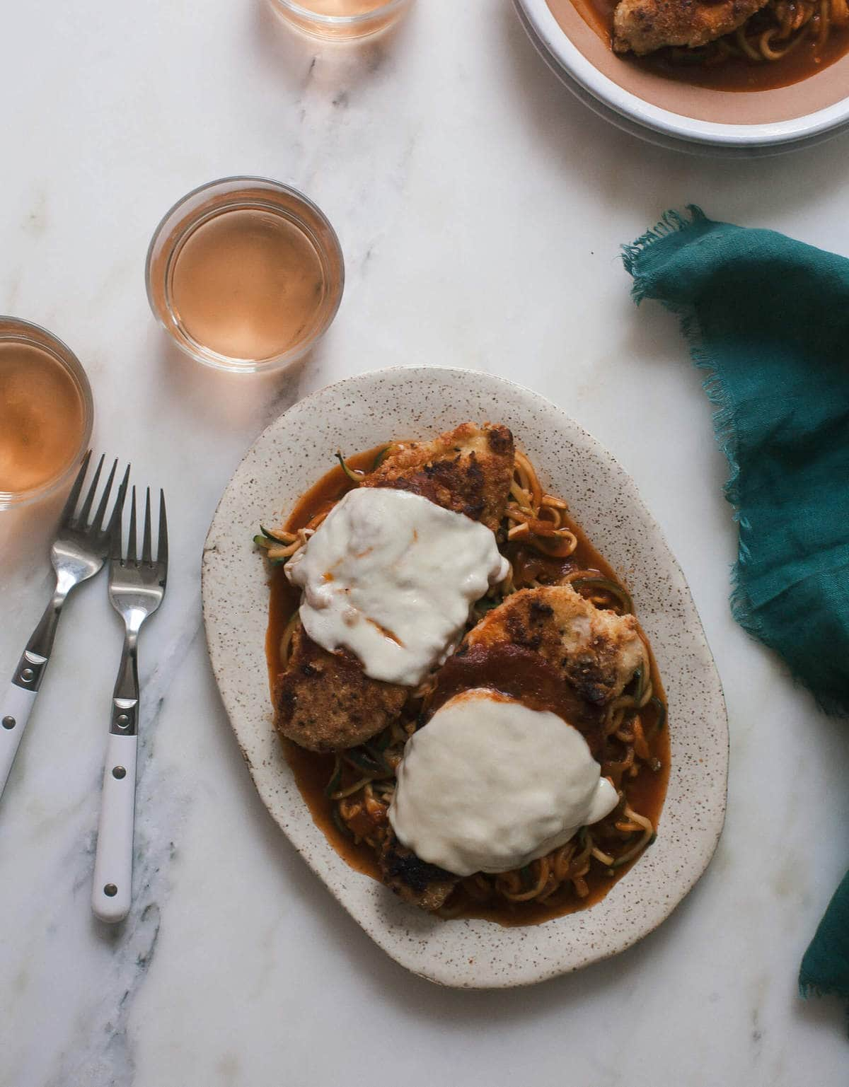 Gluten-Free Chicken Parmesan with Zucchini Noodles