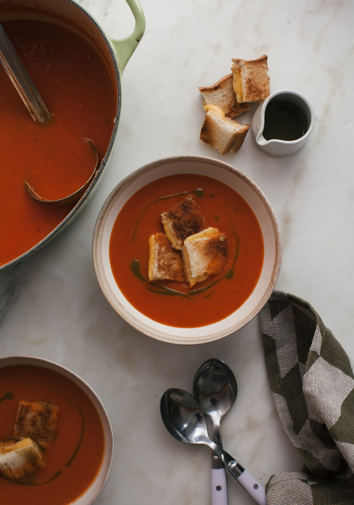Roasted Tomato Soup with Grilled Cheese Croutons