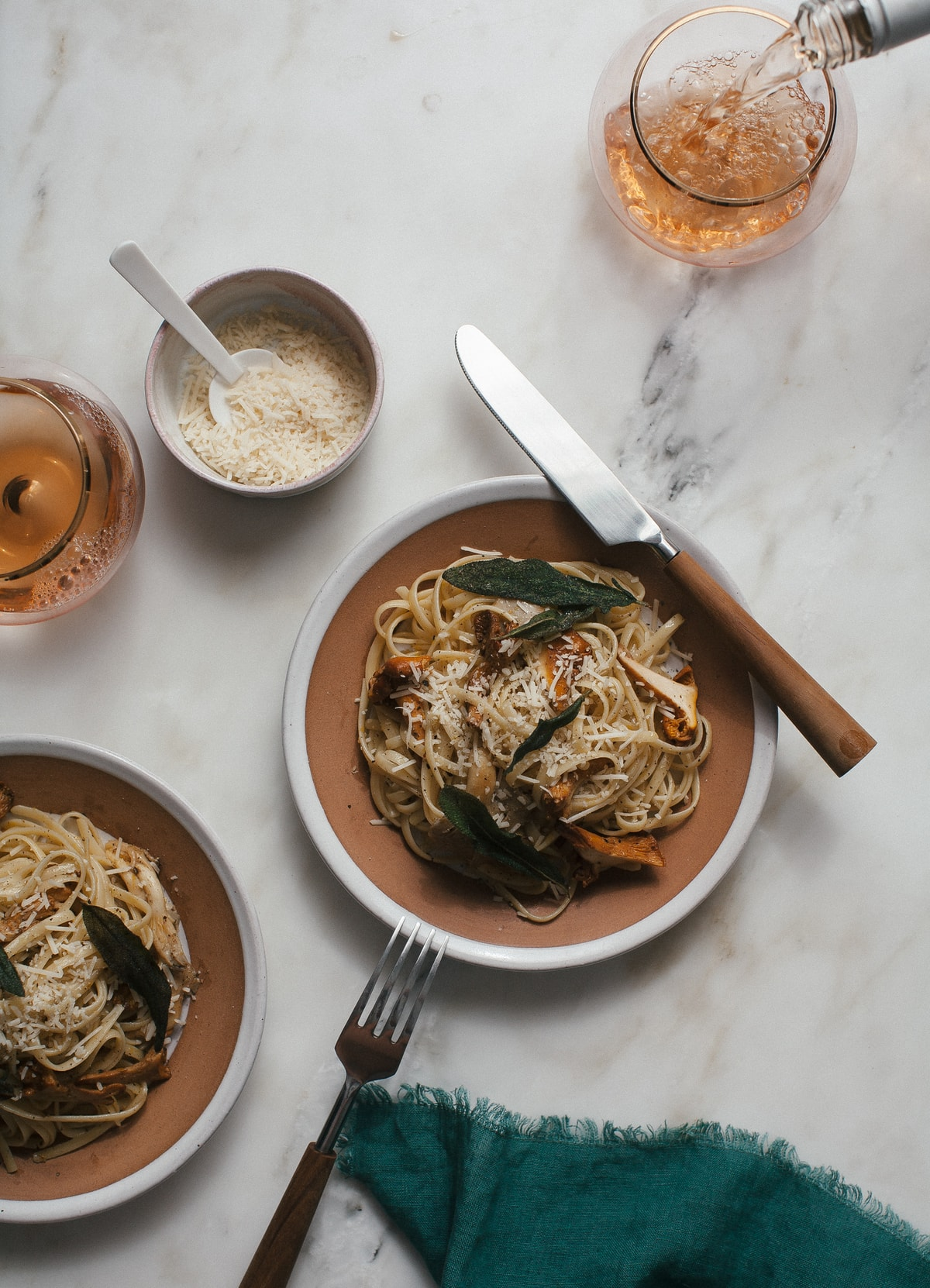Wild Mushroom Spaghetti with Orange Brown Butter + Crispy Sage