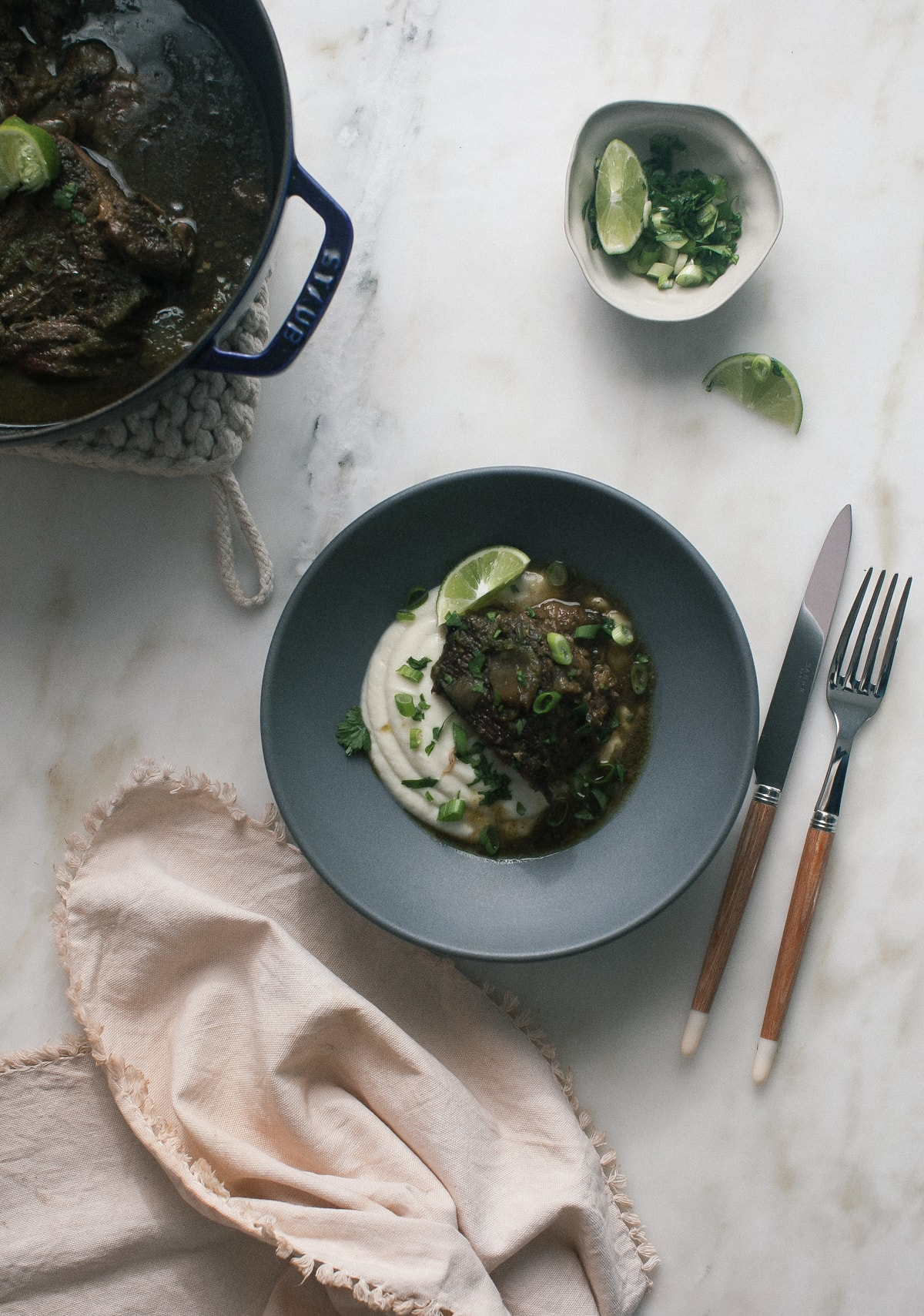 Peruvian-ish Pot Roast with Silky Smooth Cauliflower Puree