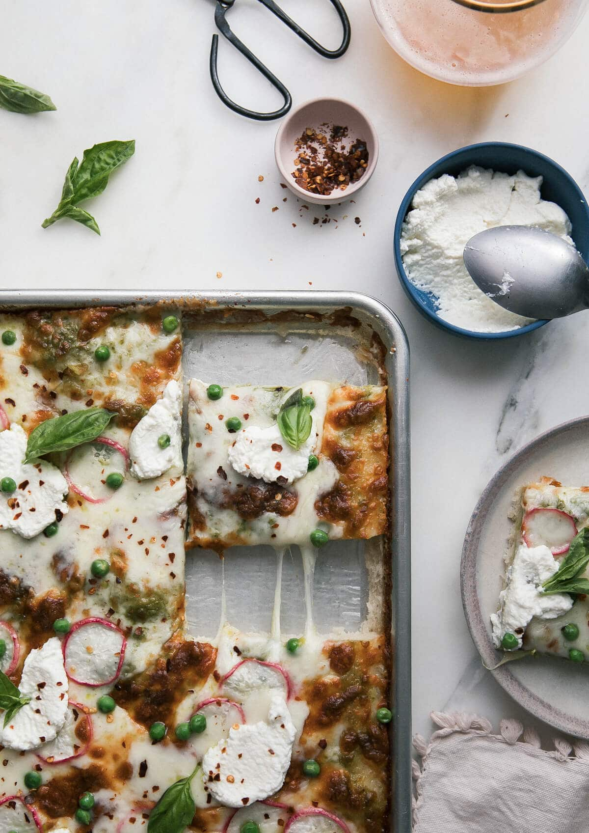 Spring-y Detroit-Style Pizza