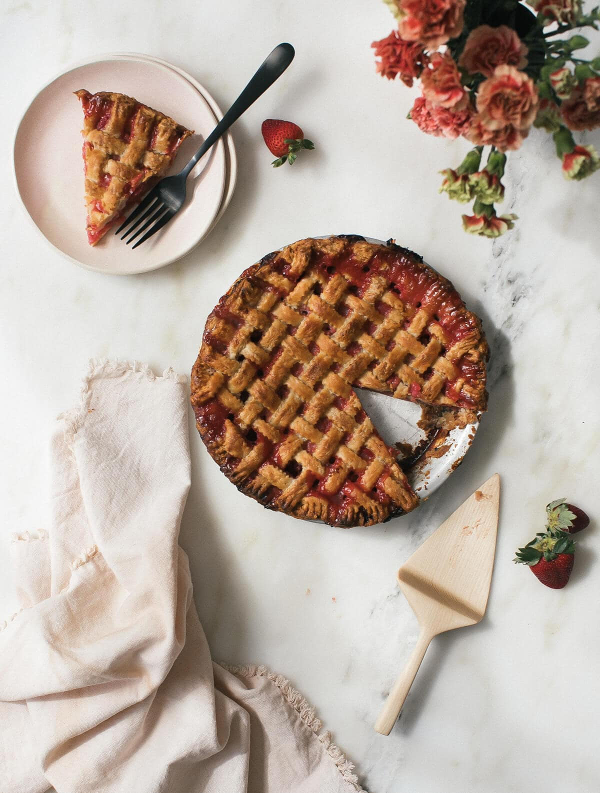 Rhubarb Strawberry Pink Peppercorn Pie