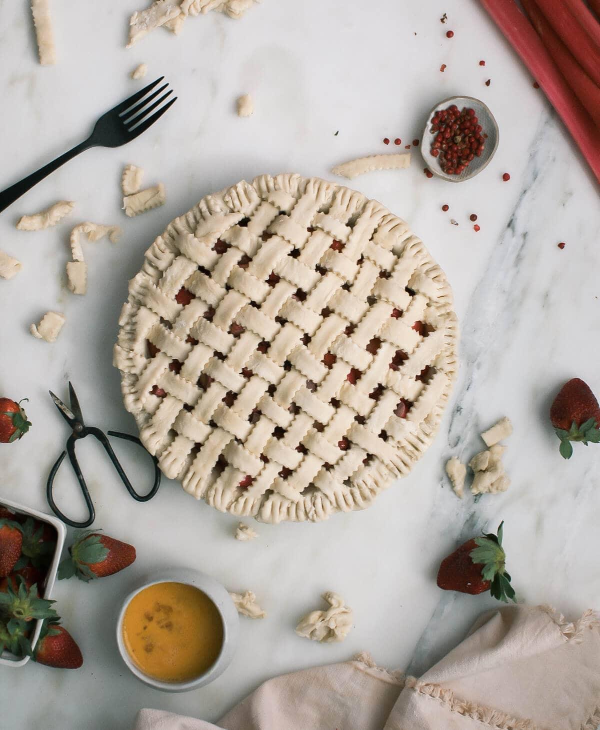 Rhubarb Strawberry Pink Peppercorn Pie A Cozy Kitchen
