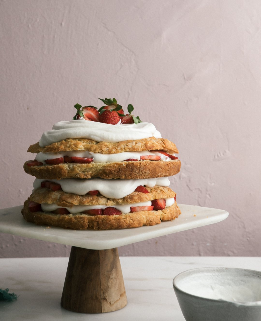 biscuit strawberry shortcake with chamomile whipped cream a cozy