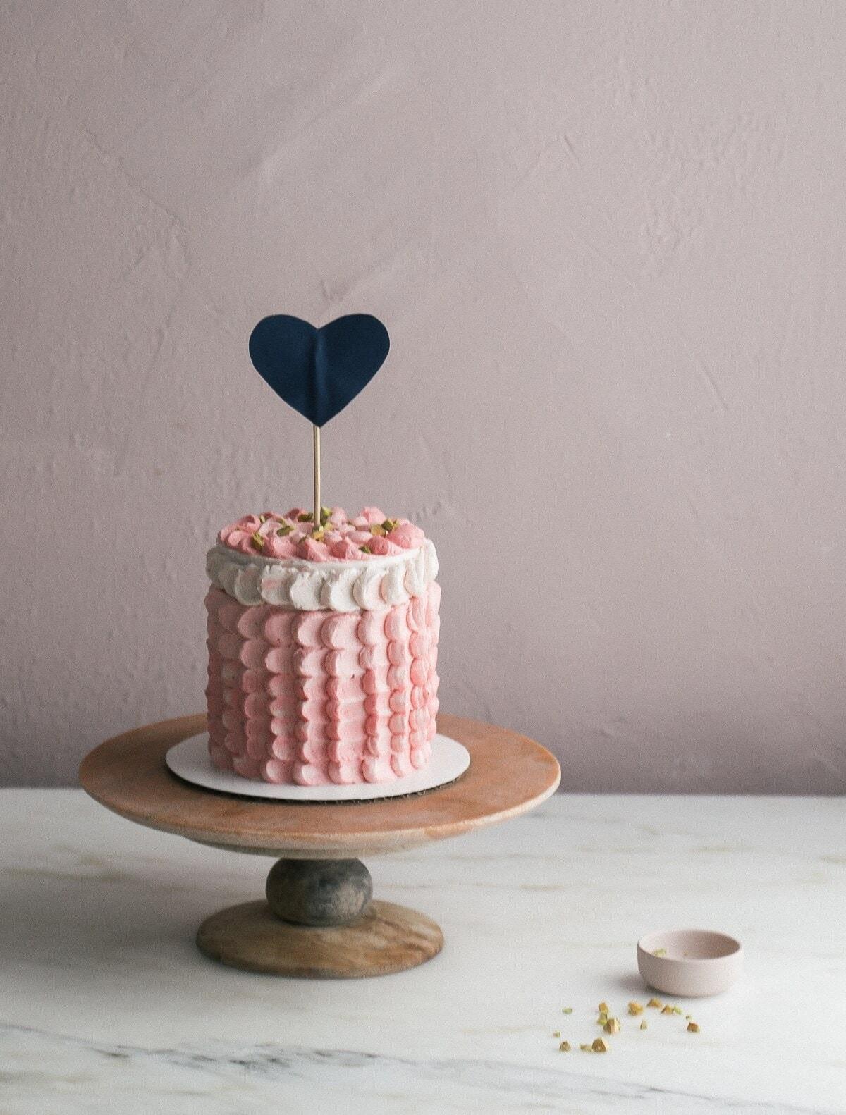 Pistachio Strawberry Elopement Cake