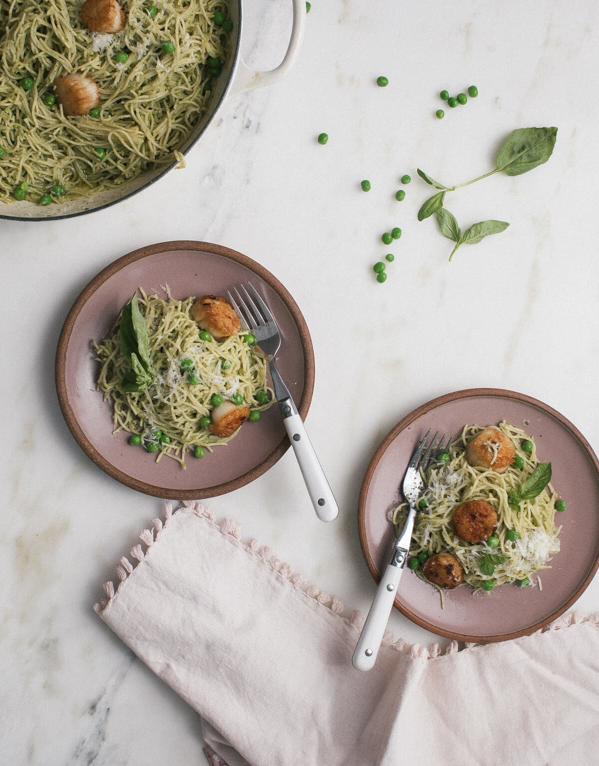 Pea Pesto Pasta with Brown Butter Scallops