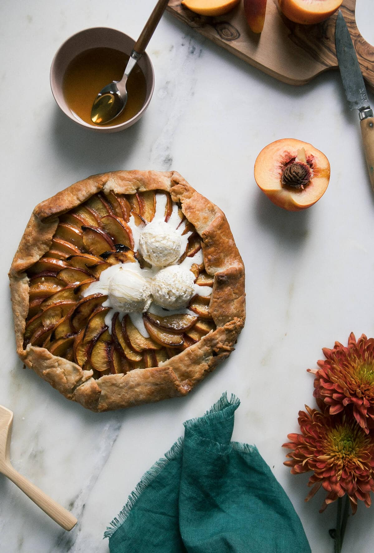Late-Summer Peach Honey and Pistachio Galette