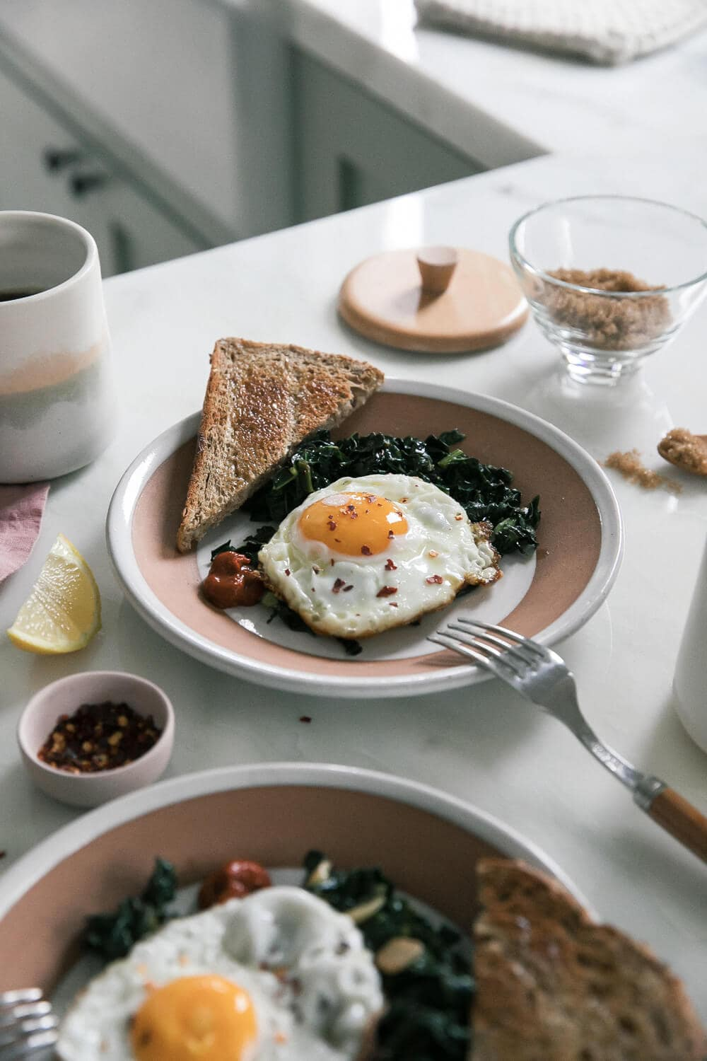 Olive Oil Fried Eggs with Sautéed Garlic-y Kale