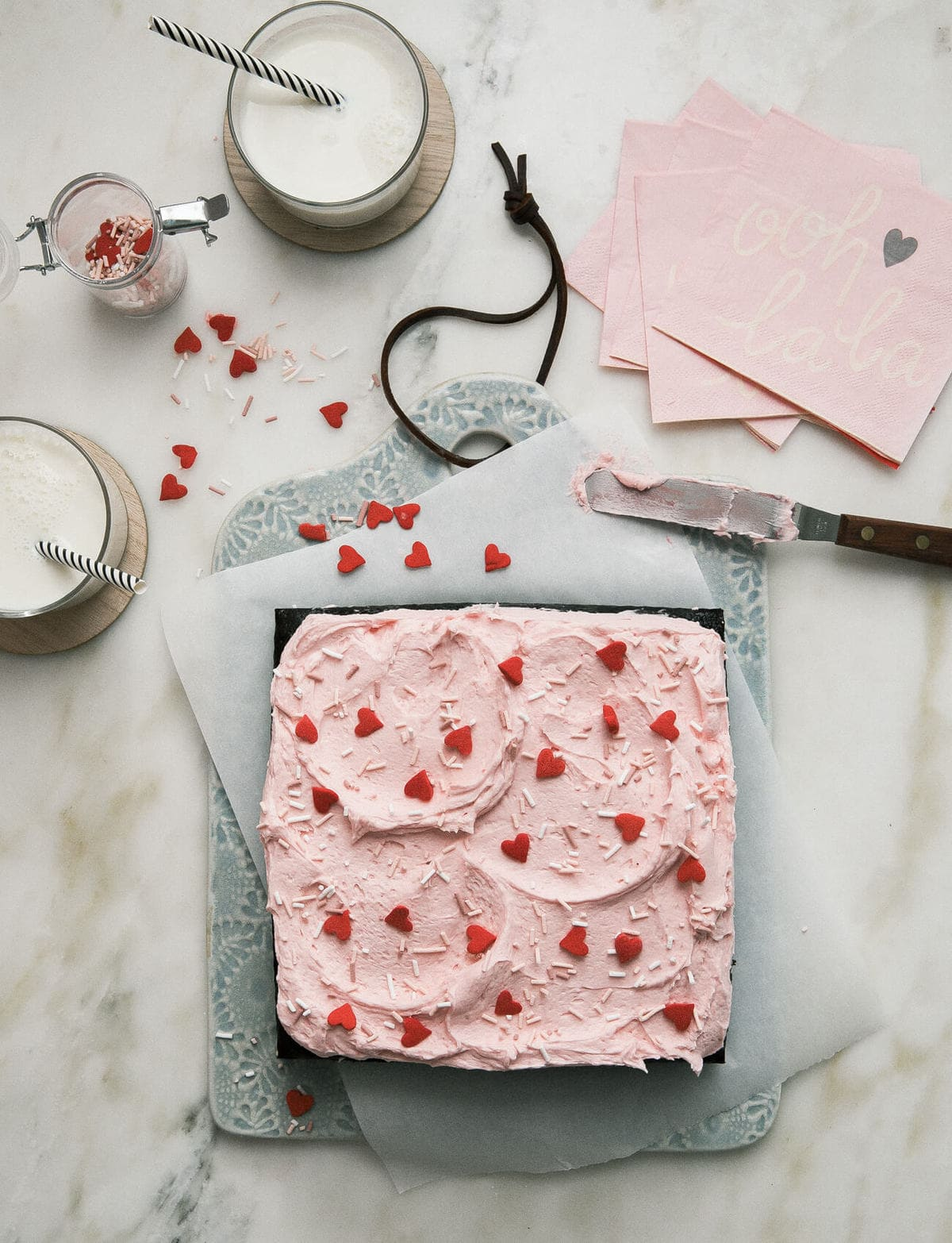 Mini Chocolate Sheet Cake for Two with Raspberry Frosting