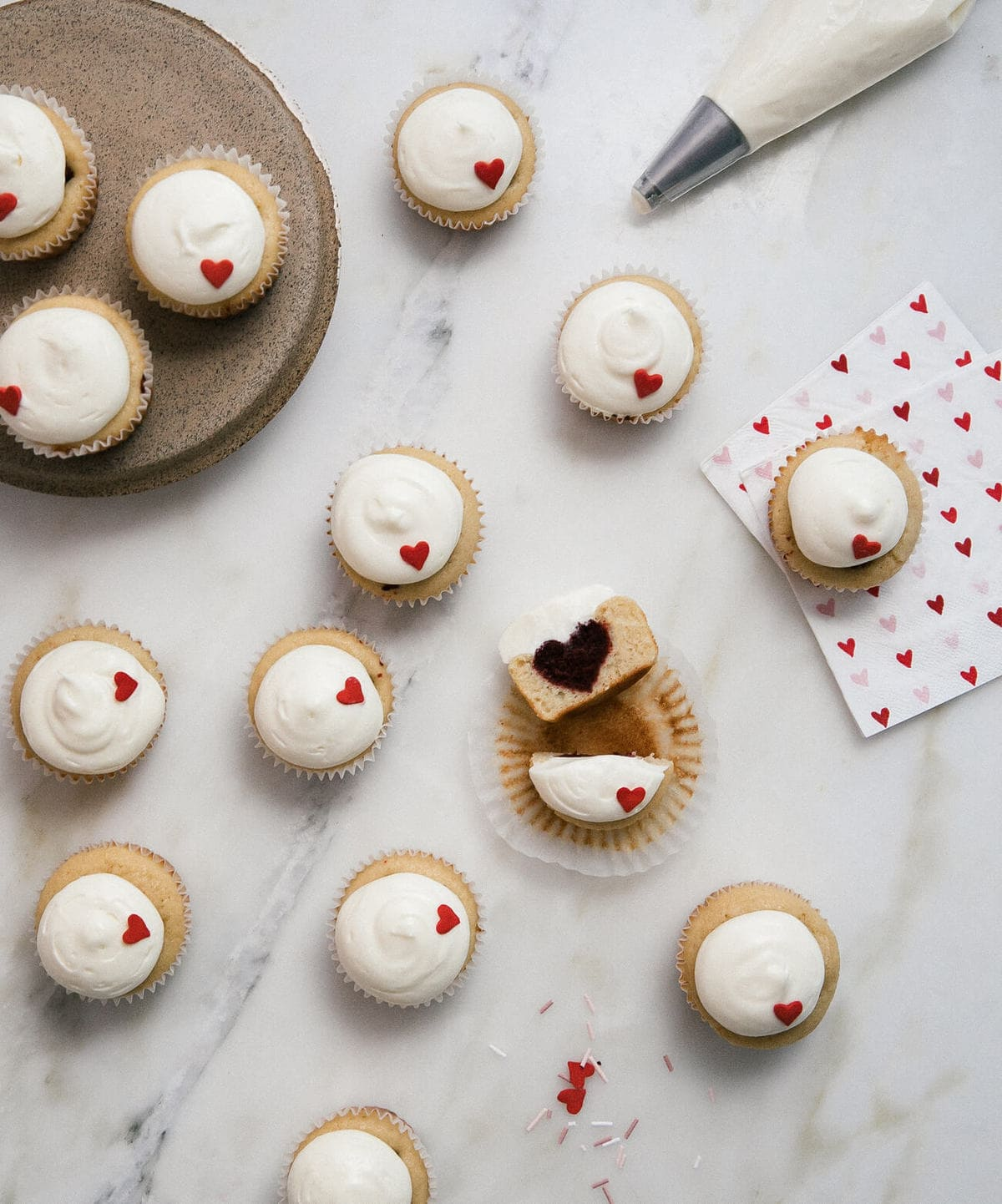 Red Velvet Heart Surprise Cupcakes