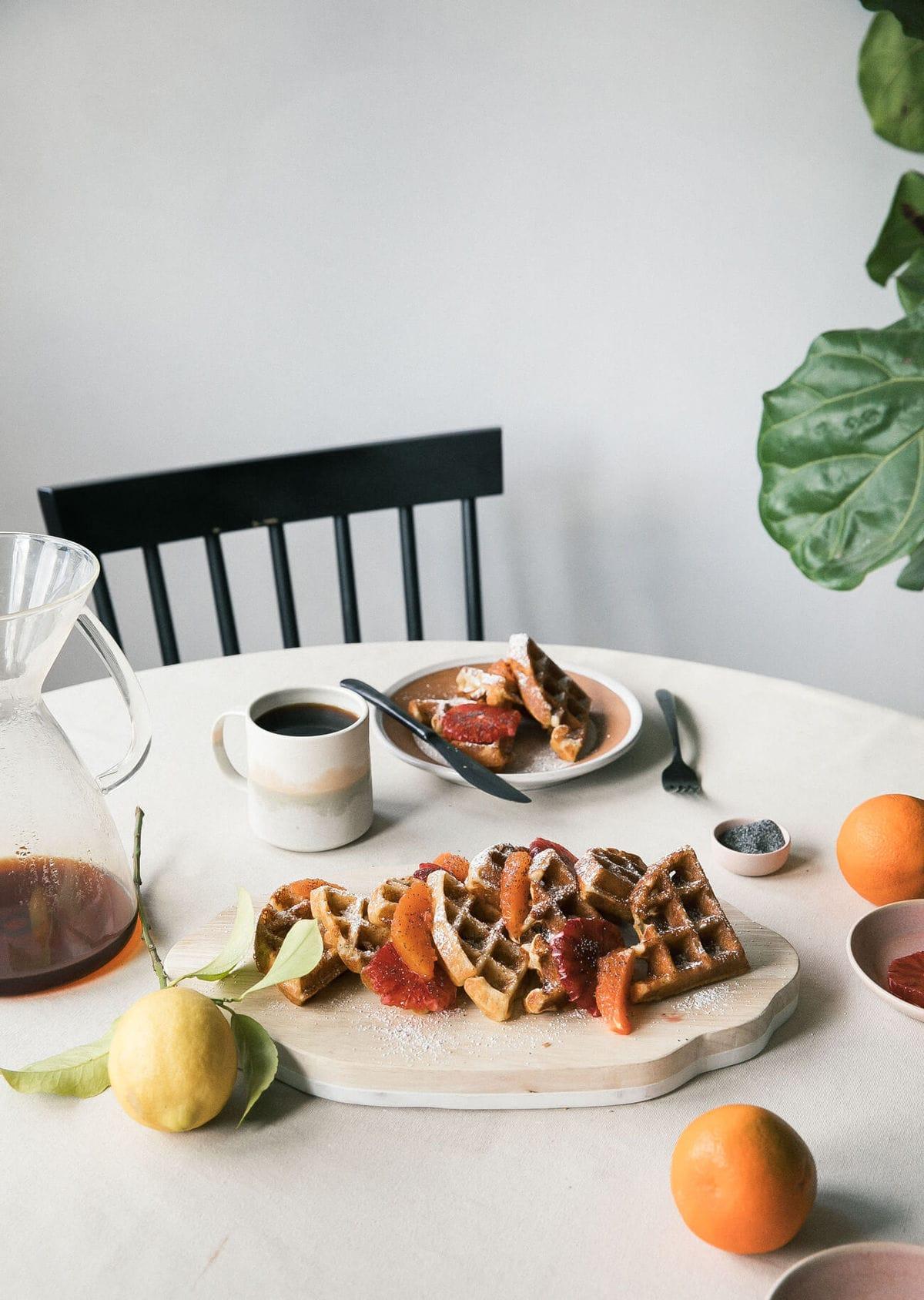Grapefruit Poppy Seed Crispy Waffles